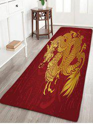 Flannel Skidproof Dragon Print Bath Mat - RED