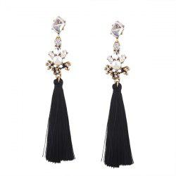Faux Crystal Pearl Tassel Earrings