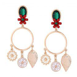 Faux Emerald Flower Circle Leaf Earrings