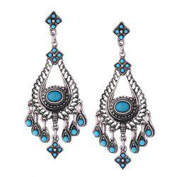 Resin Gypsy Teardrop Chandelier Earrings - Silver