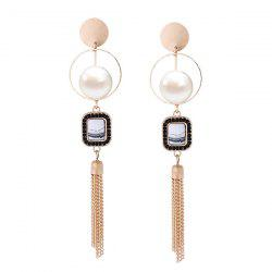 Faux Pearl Fringed Chain Circle Earrings
