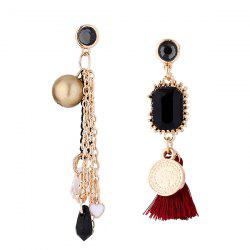 Ball Heart Fringed Tassel Chain Earrings