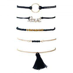 Love Circle Beaded Tassel Bracelet Set - BLACK