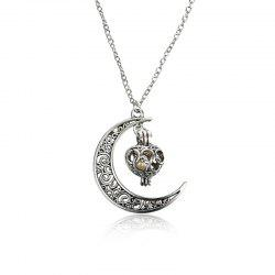 Engraved Faux Pearl Cage Moon Necklace