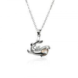 Faux Pearl Dolphin Cage Necklace