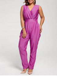 Sleeveless Harem Surplice Jumpsuit - PURPLISH RED