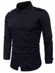 Epaulet Design Double Pockets Cover Placket Cargo Shirt - Noir