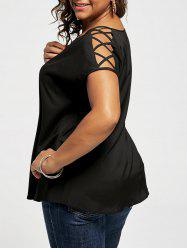 Plus Size V Neck Lace Up Sleeve Blouse