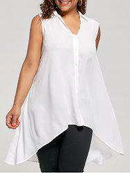 Plus Size High Low Hem Sleeveless Shirt