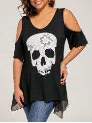 Skull Cold Shoulder Plus Size Top - BLACK