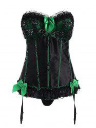 Ruffled Sweetheart Corset Top with Garter Belt