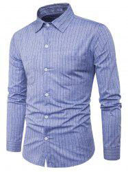 Long Sleeve Double Pocket Vertical Stripe Shirt