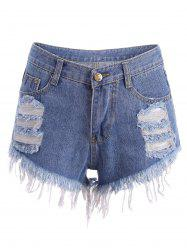 Distressed Cutoffs Denim Shorts - BLUE