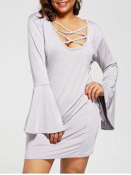 Long Sleeve Criss Cross Cutout Plus Size Dress
