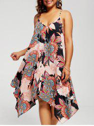 Plus Size Floral Chiffon Asymmetric Slip Dress - BLACK