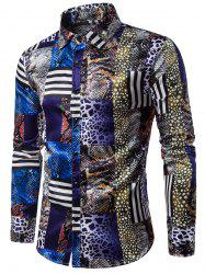 Long Sleeve 3D Snakeskin Pattern Print Panel Shirt