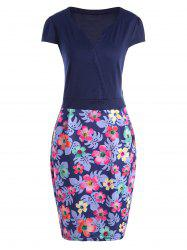 Fitted Cap Sleeve Floral Plus Size Dress