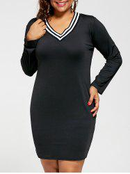 Plus Size V Neck Long Sleeve Sheath Dress