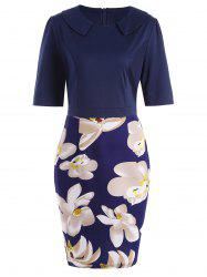 Fitted Knee Length Plus Size Floral Dress