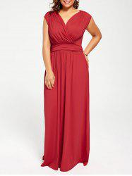 Cap Sleeve Plus Size V Neck Maxi Formal Party Dress