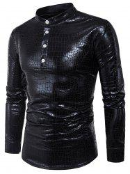 Long Sleeve Half Buttons Crocodile PU Leather Shirt