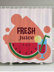 Watermelon Juice Pattern Fabric Waterproof Bathroom Shower Curtain - COLORMIX W71 INCH * L71 INCH