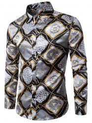 Long Sleeve 3D Rudder String Geometric Print Shirt