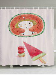 Watermelon Girl Pattern Fabric Waterproof Bathroom Shower Curtain