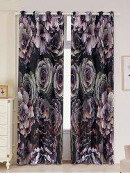2PCs Floral Print Blackout Window Curtains - COLORFUL W53 INCH * L96.5 INCH