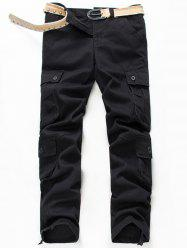 Button Pockets Zip Fly Straight Cargo Pants