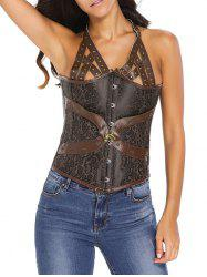 Studded Lace Up Halter Corset Top