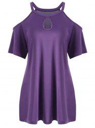 Plus Size Keyhole Neck Cold Shoulder Tee - PURPLE XL