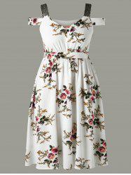 Tiny Floral Cold Shoulder Plus Size Dress