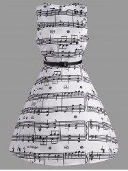 Music Note Print Party Swing Dress - WHITE