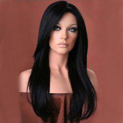 Long Side Bang Glossy Layered Straight Synthetic Wig