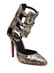 Snake Print Buckle Straps Pumps