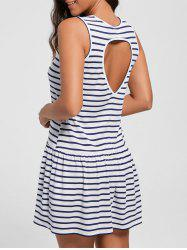 Drop Waist Cut Out Striped Mini Dress