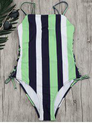 Stripe Lace-Up One Piece Swimsuit
