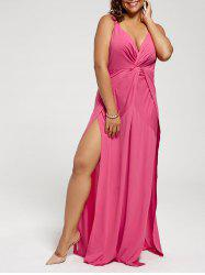 Plunging High Slit Plus Size Jumpsuit