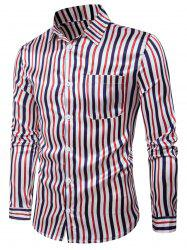 Long Sleeve Color Block Vertical Stripe Shirt