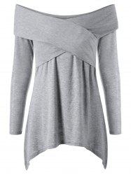 Cross Front Off Shoulder Long Sleeve T-Shirt - LIGHT GREY