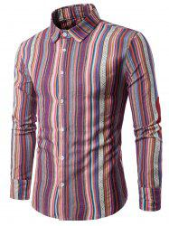 Long Sleeve Ethnic Vertical Stripe Elbow Patch Shirt