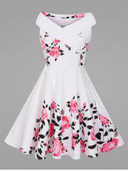 Criss Cross Plus Size Floral 1950's Pin Up Dress - Blanc
