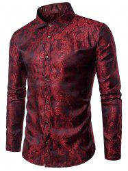Long Sleeve Paisley Vintage Shirt - WINE RED