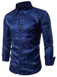 Long Sleeve Paisley Vintage Shirt - CADETBLUE