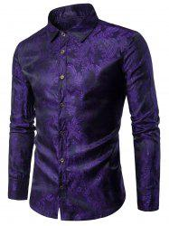 Long Sleeve Paisley Vintage Shirt - PURPLE