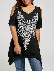 Plus Size Cold Shoulder Tunic Top - BLACK
