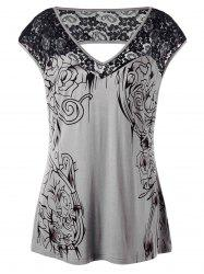 Plus Size Lace Insert Open Back Top - GRAY XL