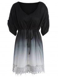 Plus Size V Neck Ombre Tunic Top -