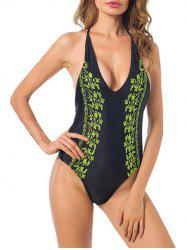Halter Low Back Embroidered Swimsuit -